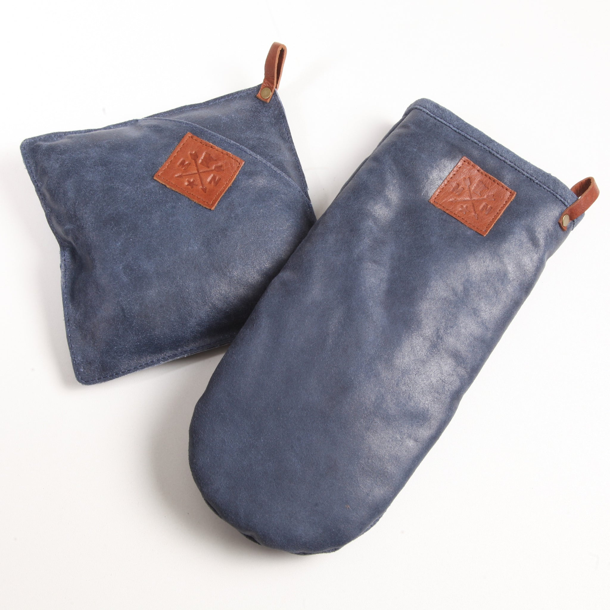 Blue Leather MN Pot Holder & Oven Mitt