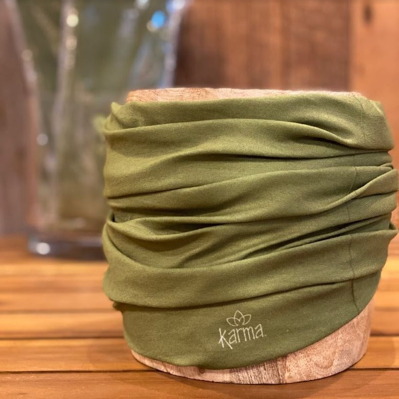 Olive Green Solid Print Face Gaiter