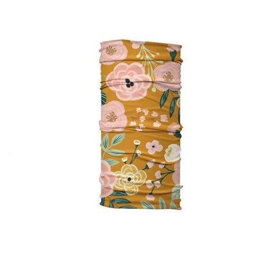 Mustard Floral Printed Face Gaiter