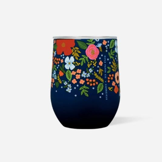 Navy Wild Rose Wine Tumbler
