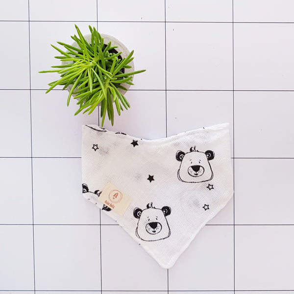 Baby muslin bandana bib in White and black and cute bear print free shipping