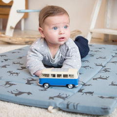 Baby take away play mat with bambi print in blue