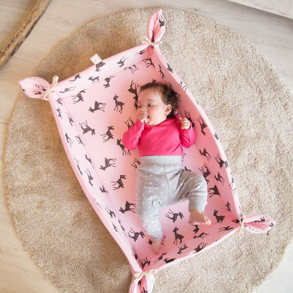 Baby folding play mat with bambi print in pink