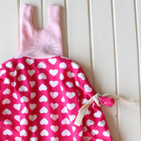 Bunny security blanket  in pink and hearts pattern  Free shipping