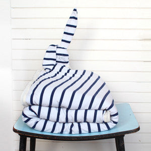 Winter baby rabbit blanket in navy and white  stripes