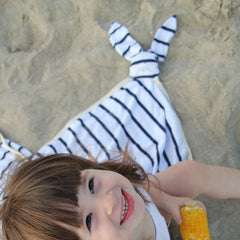 Summer bunny  blanket for babies in navy blue and white stripes SALE