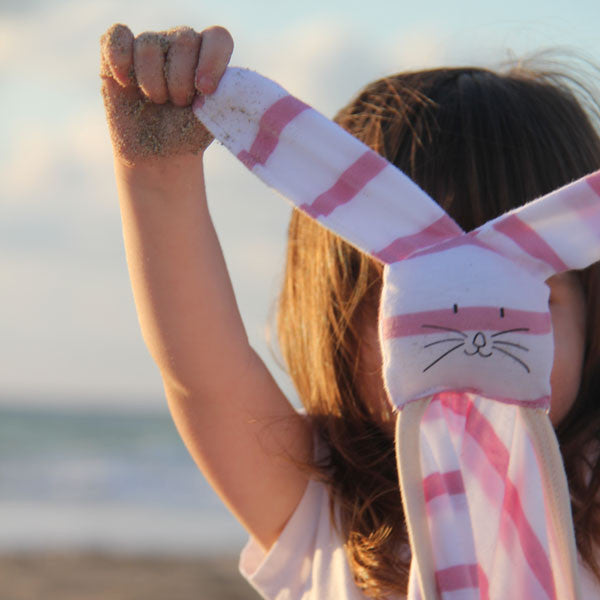 Summer bunny blanket for babies in pink and white stripes SALE // 1+1// Buy 1 get the second one for free