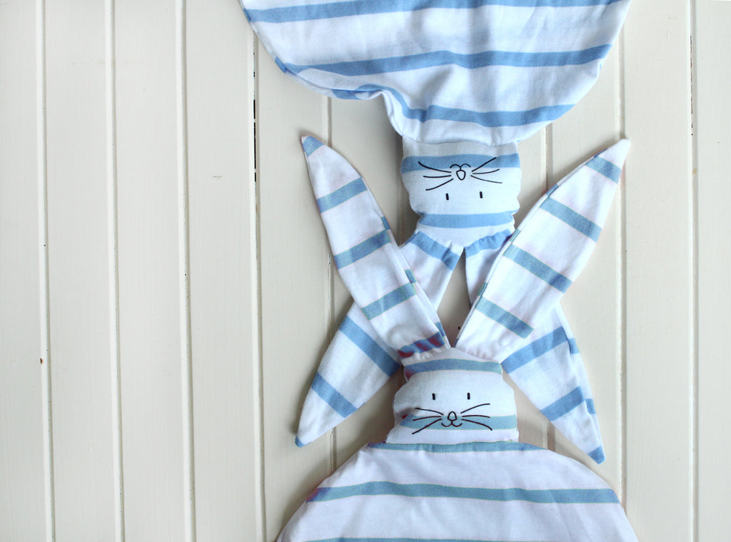 Bunny security blanket  in light blue and white stripes  Free shipping