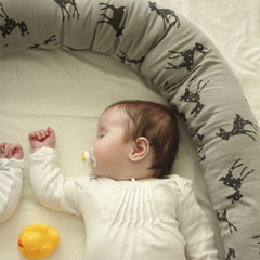 3.Baby bed bumper in gray with bambi print