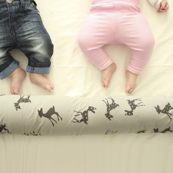 3.Baby bed bumper in gray with bambi print Free Shipping
