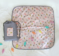Baby Blanket + Milestone cards / Monthly Growth / picnic blanket / anniversary blanket / growth blanket in pink flamingo pattern