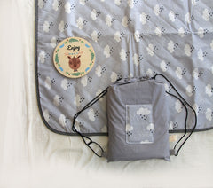 Baby Blanket +  Milestone cards / Monthly Growth / picnic blanket / anniversary blanket  / growth blanket in gray and white clouds