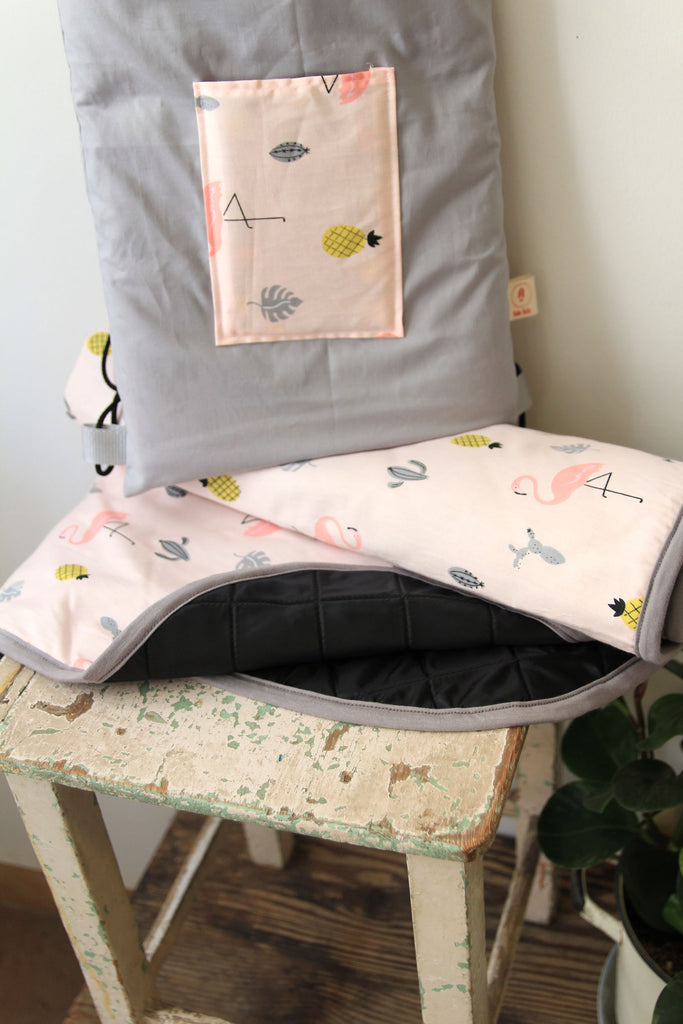 Baby Blanket + Milestone cards,picnic blanket, growth blanket in pink flamingo pattern