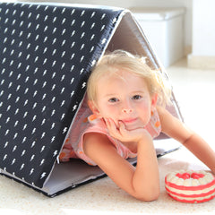 Baby Playmat  - the perfect folding mat for your baby in gray and lights pattern in black