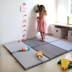 Baby Playmat  - the perfect folding mat for your baby  in gray and lights pattern in gray