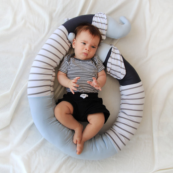 3.Baby boy elephant cot bumper pillow in Blue Free Shipping