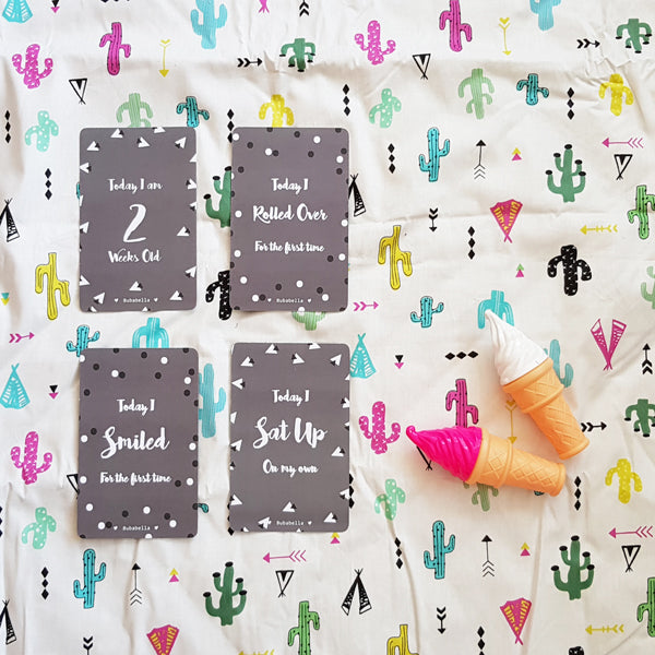 Baby Blanket + Milestone cards- Free Shipping For Black Friday- picnic blanket in cactus pattern