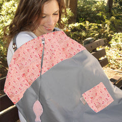 Nursing cover Full-coverage for breastfeeding moms in gray and peach