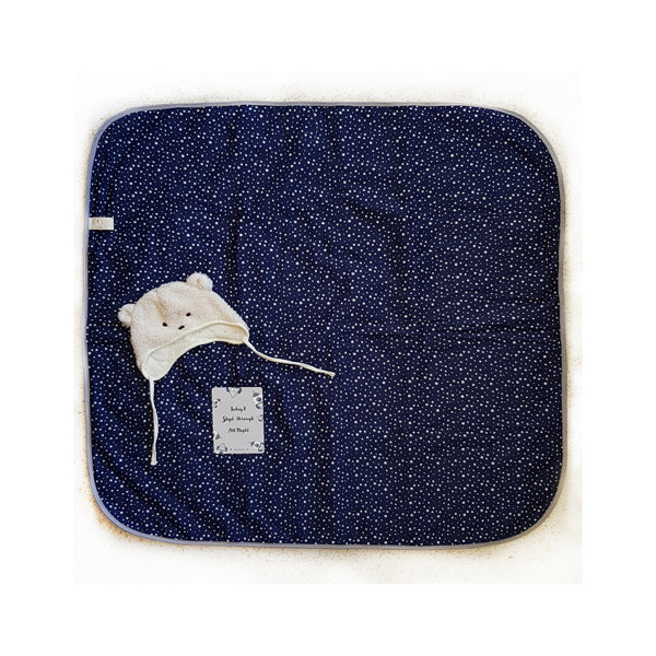 Baby Blanket+Milestone cards- Free Shipping-in navy blue and stars pattern