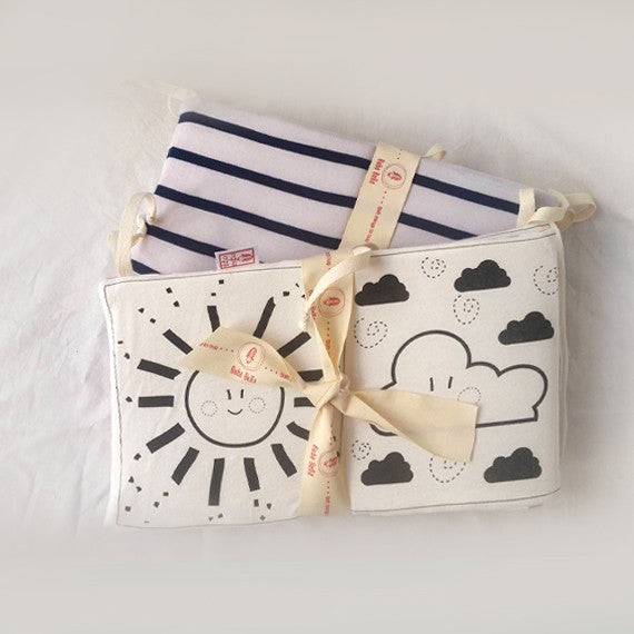 Baby's first black and white soft  book - Back side in blue and white striped