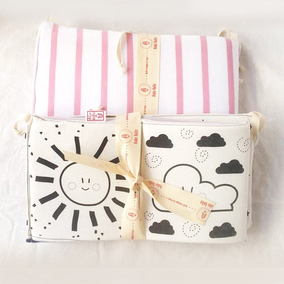 Baby's first black and white soft  book - Back side in pink and white striped Free shipping