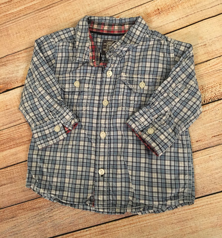 3-6 Months Blue Checked Shirt