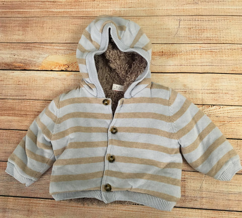 0-3 Months Fur Lined Knitted Jacket