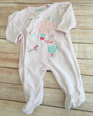 0-3 Months Velour Boutique Sleepsuit