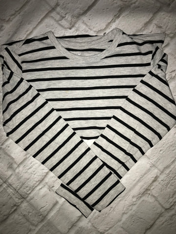 Age 8-10 Grey Striped H&M Long Sleeve Top