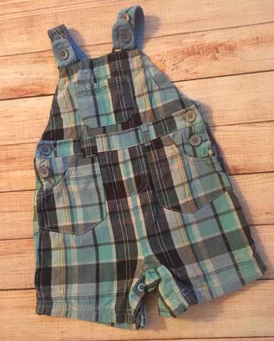 3-6 momths Checked Shortie Dungarees