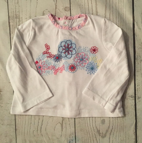 0-3 Months Embroidered Button back Top