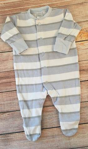 1 Month Striped Sleepsuit