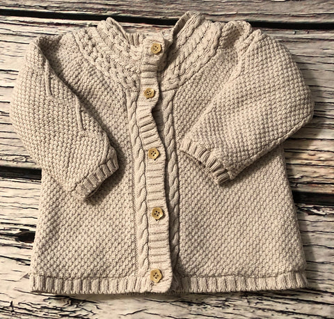 6-9 Months Velour Lined Cardigan