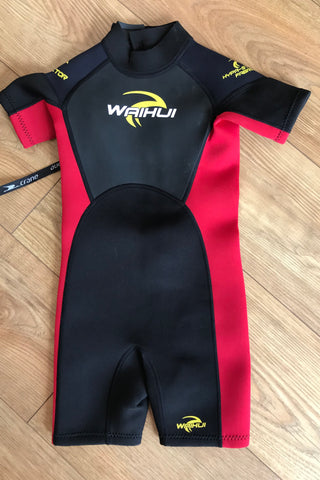 NEW Age 6 red and black wetsuit