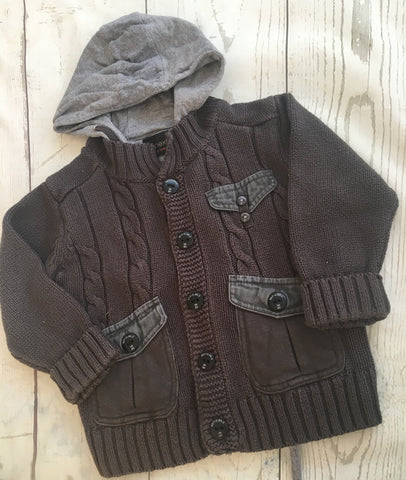 12-18 Months Zipped Knitted Hooded Cardigan
