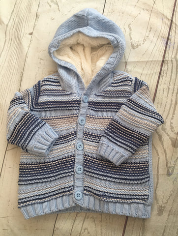 3-6 Months Fur Lined Knitted Cardigan