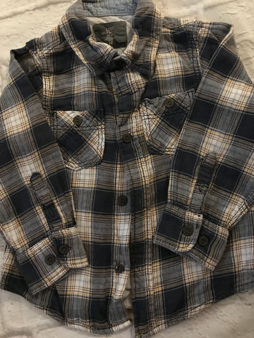 Age 3-4 H&M Long Sleeve Navy Checked Shirt