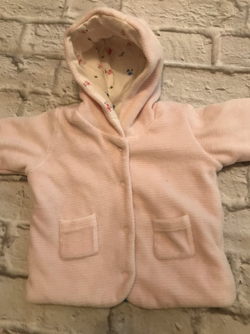 Upto 1 month pink Velour Coat