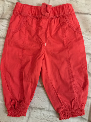3-6 Months Red Cuffed Trousers