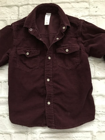Age 5 Burgandy Long Sleeve Needlecord Shirt