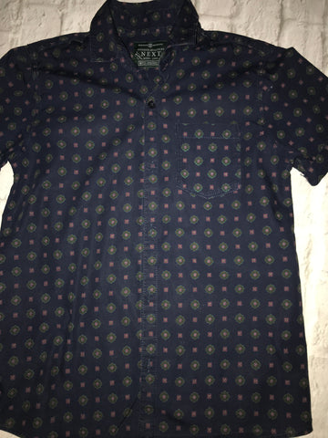 Age 10 Next Patterned Short Sleeve Shirt