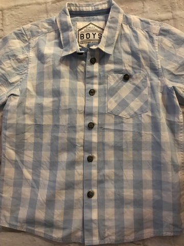 Age 5 Light Blue Checked Short Sleeve Next Shirt