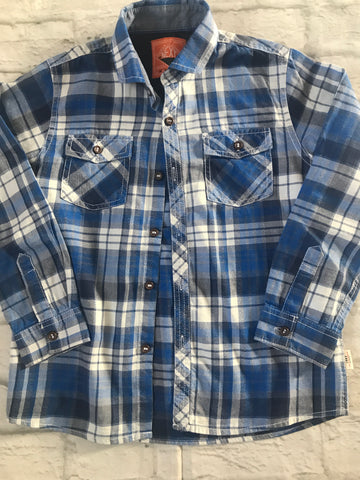 Age 7 Blue Checked Next Long Sleeve Shirt
