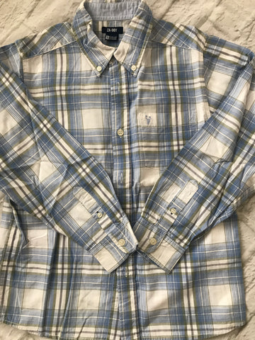 Age 7-8 Blue Checked Long Sleeve Shirt