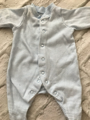 Tiny Baby Blue  Striped Sleepsuit