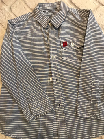 Age 3-4 Blue Stripped Long Sleeve Shirt