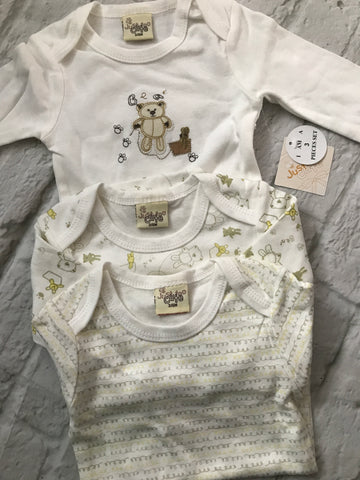 NEW 3-6 Month Cream Long Sleeve Vests x 3