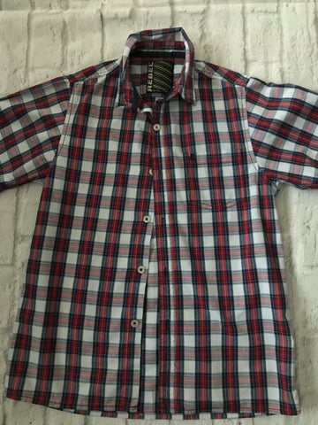 Age 11-12 Red Checked Short Sleeve Shirt