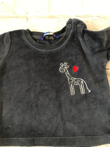 3-6 Months Navy Velour Long Sleeve Top