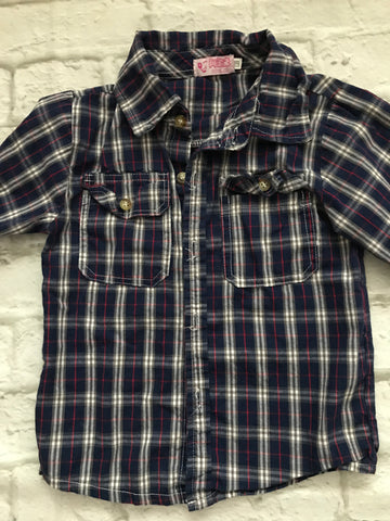Age 5 Navy Checked Long Sleeve Shirt